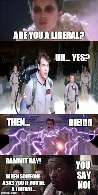 Winston Gets It! | ARE YOU A LIBERAL? DAMMIT RAY! UH... YES? THEN... DIE!!!!! WHEN SOMEONE ASKS YOU IF YOU'RE A LIBERAL... YOU SAY NO! | image tagged in ghostbusters,winston,gozer,rooftop,liberal,just say no | made w/ Imgflip meme maker