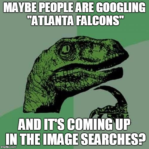"Philosoraptor Meme | MAYBE PEOPLE ARE GOOGLING ""ATLANTA FALCONS"" AND IT'S COMING UP IN THE IMAGE SEARCHES? 