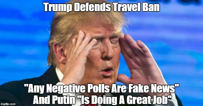 """Trump Defends Travel Ban """"Any Negative Polls Are Fake News"""" And Putin """"Is Doing A Great Job"""" 