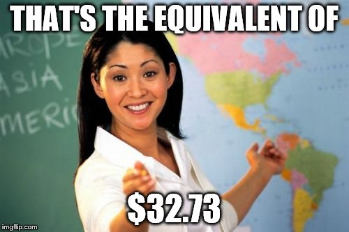 Teacher | THAT'S THE EQUIVALENT OF $32.73 | image tagged in teacher | made w/ Imgflip meme maker