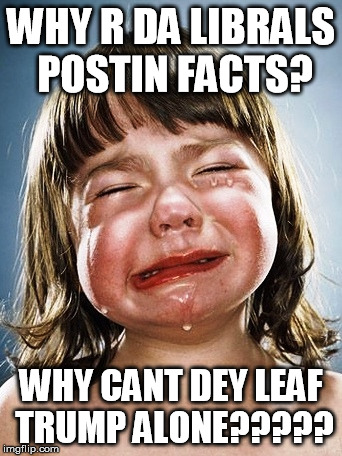 trump facts | WHY R DA LIBRALS POSTIN FACTS? WHY CANT DEY LEAF TRUMP ALONE????? | image tagged in trump,facts,protest | made w/ Imgflip meme maker