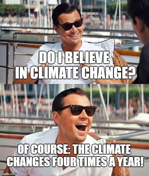 Winter, Spring, Summer, Fall | DO I BELIEVE IN CLIMATE CHANGE? OF COURSE: THE CLIMATE CHANGES FOUR TIMES A YEAR! | image tagged in memes,leonardo dicaprio wolf of wall street,climate change,funny | made w/ Imgflip meme maker