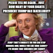 Gene Wilder | PLEASE TELL ME AGAIN... JUST HOW MANY OF YOUR RIGHTS PRESIDENT TRUMP HAS TAKEN AWAY? ZERO? THAT'S CORRECT! SO YOU CAN STOP WHINING NOW. WOUL | image tagged in gene wilder | made w/ Imgflip meme maker