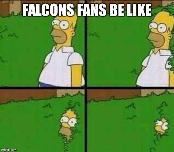 *choke* | FALCONS FANS BE LIKE | image tagged in homer simpson in bush - large | made w/ Imgflip meme maker