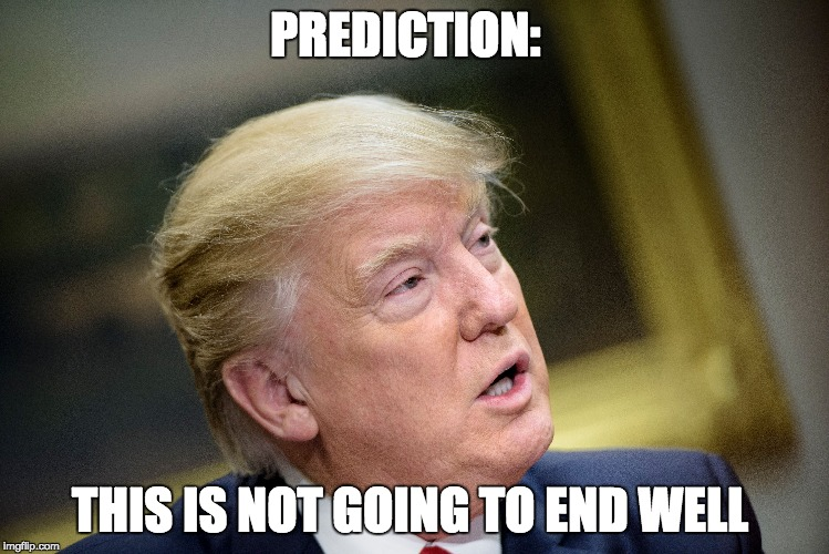 PREDICTION: THIS IS NOT GOING TO END WELL | image tagged in trump,meme,end | made w/ Imgflip meme maker