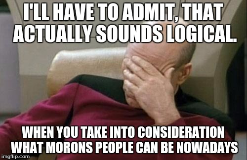 Captain Picard Facepalm Meme | I'LL HAVE TO ADMIT, THAT ACTUALLY SOUNDS LOGICAL. WHEN YOU TAKE INTO CONSIDERATION WHAT MORONS PEOPLE CAN BE NOWADAYS | image tagged in memes,captain picard facepalm | made w/ Imgflip meme maker