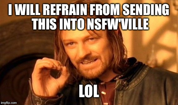 One Does Not Simply Meme | I WILL REFRAIN FROM SENDING THIS INTO NSFW'VILLE LOL | image tagged in memes,one does not simply | made w/ Imgflip meme maker