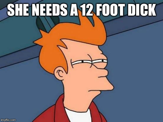 Futurama Fry Meme | SHE NEEDS A 12 FOOT DICK | image tagged in memes,futurama fry | made w/ Imgflip meme maker