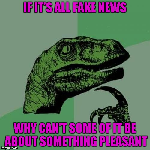 Seriously folks, is there not one story out there that's pleasant? | IF IT'S ALL FAKE NEWS WHY CAN'T SOME OF IT BE ABOUT SOMETHING PLEASANT | image tagged in memes,philosoraptor,funny,fake news,pleasant | made w/ Imgflip meme maker