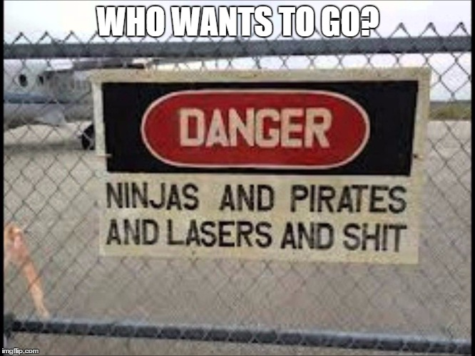 I'm Going | WHO WANTS TO GO? | image tagged in ninjas,pirates,lasers,shit | made w/ Imgflip meme maker