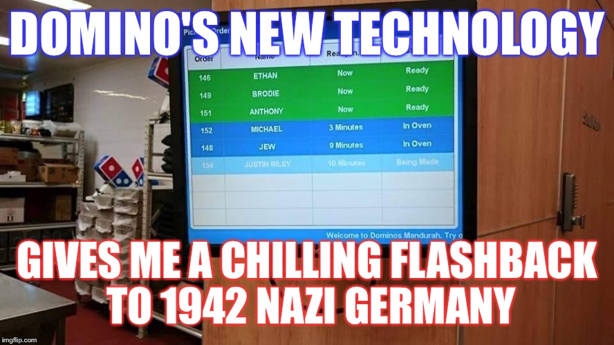 Nazi pizza  | DOMINO'S NEW TECHNOLOGY GIVES ME A CHILLING FLASHBACK TO 1942 NAZI GERMANY | image tagged in pizza,dominos,nazi,jews,technology,epic fail | made w/ Imgflip meme maker