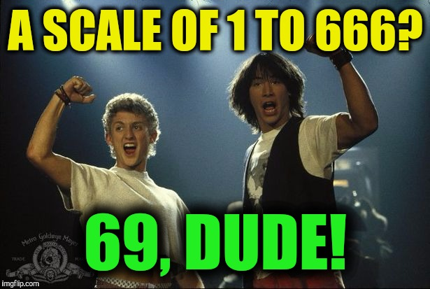 A SCALE OF 1 TO 666? 69, DUDE! | made w/ Imgflip meme maker