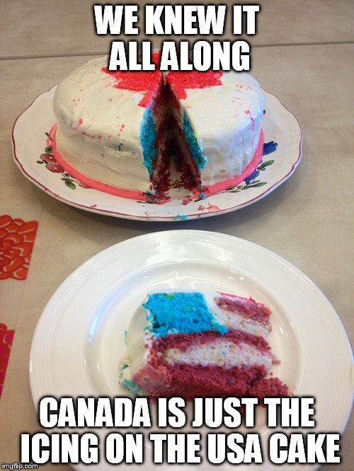 Epic bakery fail, or sly political commentary? | WE KNEW IT ALL ALONG CANADA IS JUST THE ICING ON THE USA CAKE | image tagged in canadian cake,usa,american flag | made w/ Imgflip meme maker