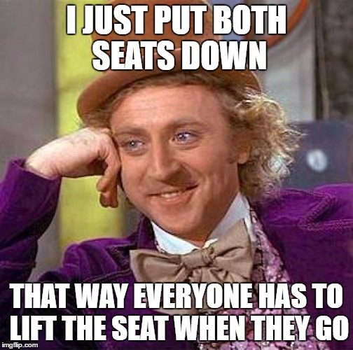 Creepy Condescending Wonka Meme | I JUST PUT BOTH SEATS DOWN THAT WAY EVERYONE HAS TO LIFT THE SEAT WHEN THEY GO | image tagged in memes,creepy condescending wonka | made w/ Imgflip meme maker