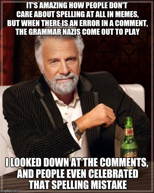 The Most Interesting Man In The World Meme | IT'S AMAZING HOW PEOPLE DON'T CARE ABOUT SPELLING AT ALL IN MEMES, BUT WHEN THERE IS AN ERROR IN A COMMENT, THE GRAMMAR NAZIS COME OUT TO PL | image tagged in memes,the most interesting man in the world | made w/ Imgflip meme maker