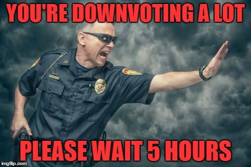 This should be a real thing... | YOU'RE DOWNVOTING A LOT PLEASE WAIT 5 HOURS | image tagged in downvoting,police,trolling,waiting | made w/ Imgflip meme maker