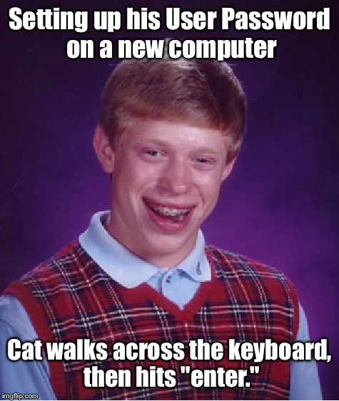 "Bad Luck Brian Meme | Setting up his User Password on a new computer Cat walks across the keyboard, then hits ""enter."" 