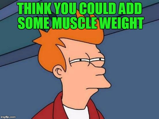 Futurama Fry Meme | THINK YOU COULD ADD SOME MUSCLE WEIGHT | image tagged in memes,futurama fry | made w/ Imgflip meme maker