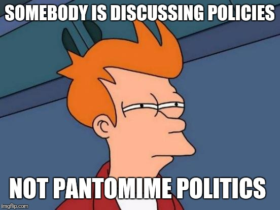 Futurama Fry Meme | SOMEBODY IS DISCUSSING POLICIES NOT PANTOMIME POLITICS | image tagged in memes,futurama fry | made w/ Imgflip meme maker