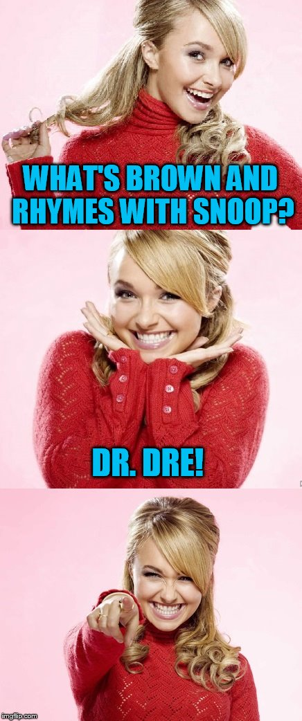 Hayden Red Pun | WHAT'S BROWN AND RHYMES WITH SNOOP? DR. DRE! | image tagged in hayden red pun | made w/ Imgflip meme maker
