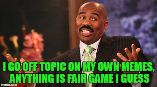 Steve Harvey Meme | I GO OFF TOPIC ON MY OWN MEMES, ANYTHING IS FAIR GAME I GUESS | image tagged in memes,steve harvey | made w/ Imgflip meme maker