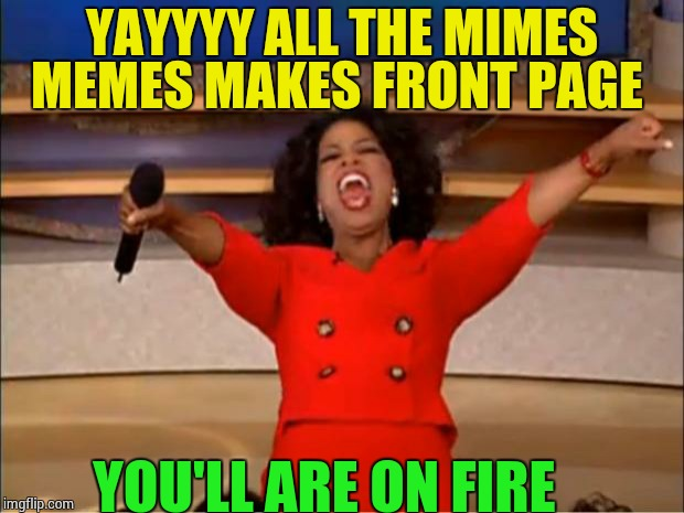 Oprah You Get A Meme | YAYYYY ALL THE MIMES MEMES MAKES FRONT PAGE YOU'LL ARE ON FIRE | image tagged in memes,oprah you get a | made w/ Imgflip meme maker