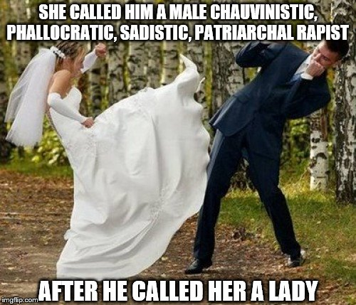 What's in a name | SHE CALLED HIM A MALE CHAUVINISTIC, PHALLOCRATIC, SADISTIC, PATRIARCHAL RAPIST AFTER HE CALLED HER A LADY | image tagged in memes,angry bride | made w/ Imgflip meme maker