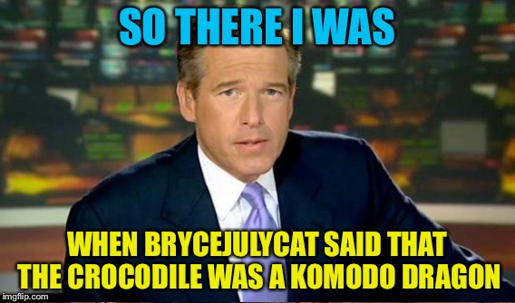 SO THERE I WAS WHEN BRYCEJULYCAT SAID THAT THE CROCODILE WAS A KOMODO DRAGON | made w/ Imgflip meme maker