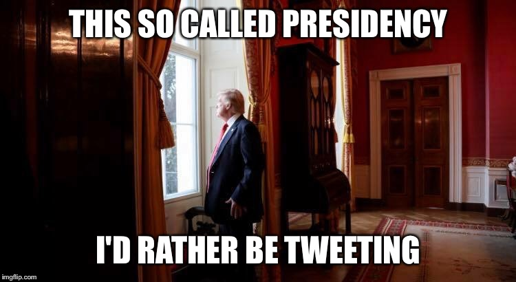 THIS SO CALLED PRESIDENCY I'D RATHER BE TWEETING | image tagged in trump thinking | made w/ Imgflip meme maker