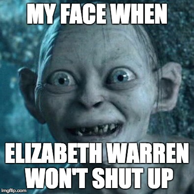Gollum Meme | MY FACE WHEN ELIZABETH WARREN WON'T SHUT UP | image tagged in memes,gollum | made w/ Imgflip meme maker