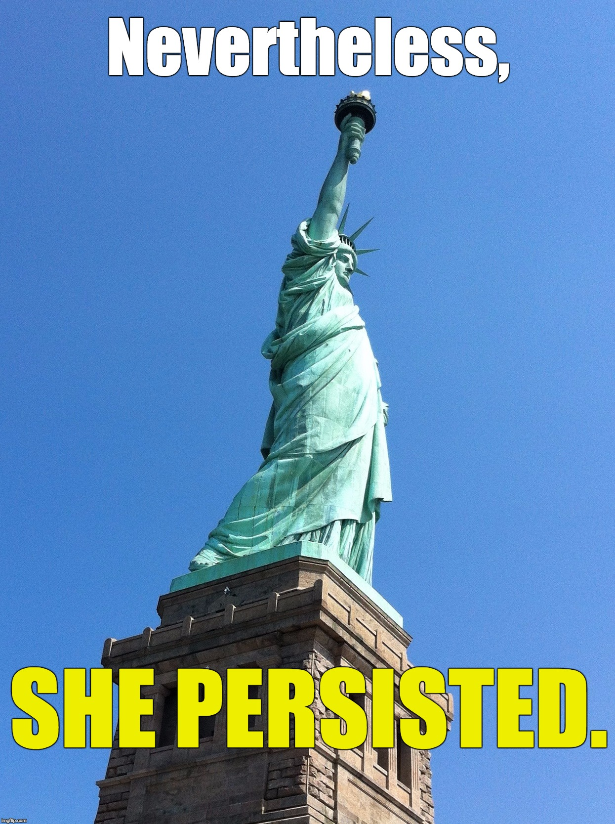 She Persisted | Nevertheless, SHE PERSISTED. | image tagged in liberty,nevertheless she persisted | made w/ Imgflip meme maker