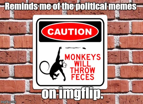 I try not to submit too many political memes just for this reason. Too much drama.  | Reminds me of the political memes on imgflip. | image tagged in monkeys,funny,warning sign | made w/ Imgflip meme maker