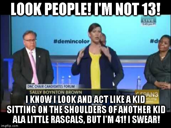 LOOK PEOPLE! I'M NOT 13! I KNOW I LOOK AND ACT LIKE A KID SITTING ON THE SHOULDERS OF ANOTHER KID ALA LITTLE RASCALS, BUT I'M 41! I SWEAR! | made w/ Imgflip meme maker