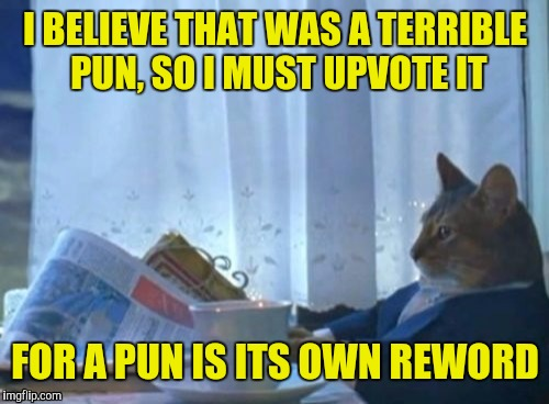 I BELIEVE THAT WAS A TERRIBLE PUN, SO I MUST UPVOTE IT FOR A PUN IS ITS OWN REWORD | made w/ Imgflip meme maker