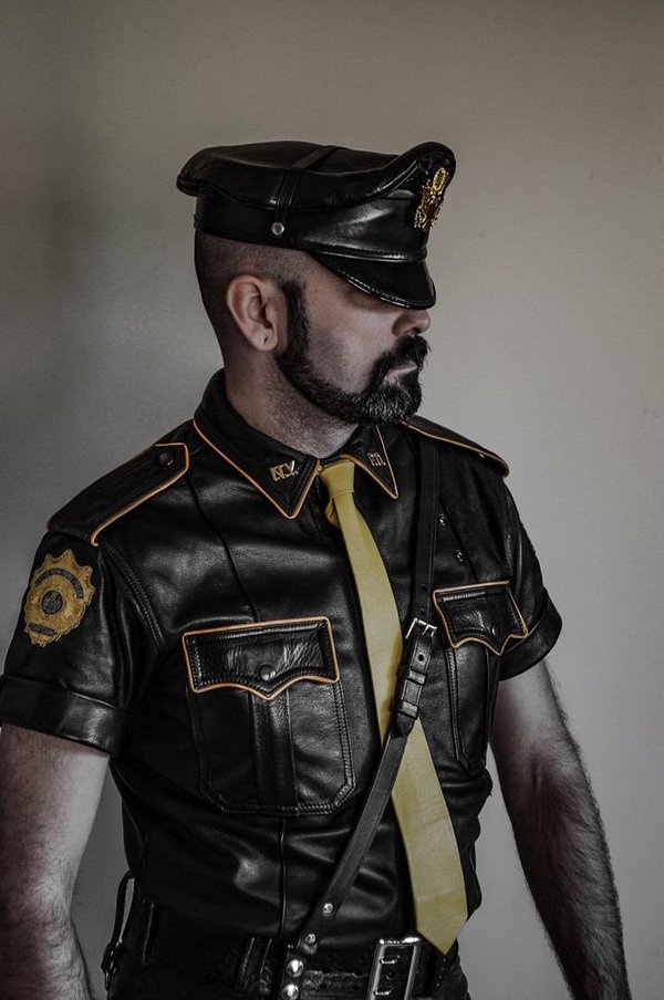 High Quality gay leather cop Blank Meme Template