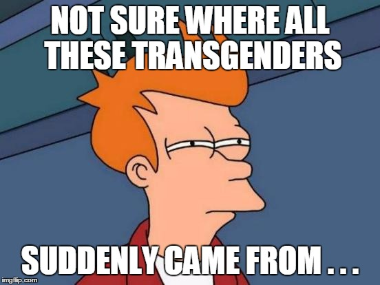 Futurama Fry Meme | NOT SURE WHERE ALL THESE TRANSGENDERS SUDDENLY CAME FROM . . . | image tagged in memes,futurama fry | made w/ Imgflip meme maker