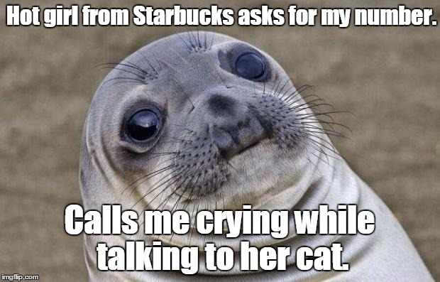 Awkward Moment Sealion Meme | Hot girl from Starbucks asks for my number. Calls me crying while talking to her cat. | image tagged in memes,awkward moment sealion | made w/ Imgflip meme maker