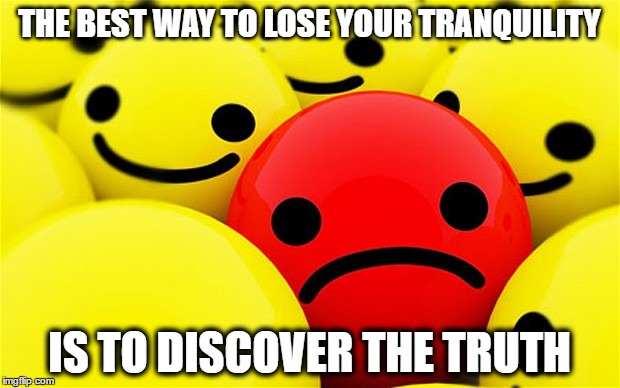 Knowledge | THE BEST WAY TO LOSE YOUR TRANQUILITY IS TO DISCOVER THE TRUTH | image tagged in knowledge,worry,unhappy,truth,learning | made w/ Imgflip meme maker