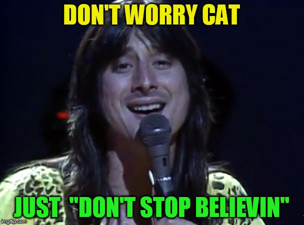 DON'T WORRY CAT JUST  ''DON'T STOP BELIEVIN'' | made w/ Imgflip meme maker