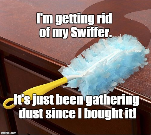 Another Pun Bites the Dust | I'm getting rid of my Swiffer. It's just been gathering dust since I bought it! | image tagged in swiffer duster,dust,pun | made w/ Imgflip meme maker