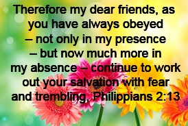 Therefore my dear friends, as you have always obeyed – not only in my presence – but now much more in my absence – continue to work out your | image tagged in flowers | made w/ Imgflip meme maker