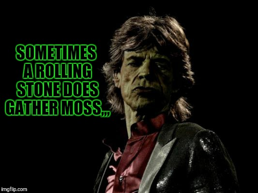 SOMETIMES A ROLLING STONE DOES GATHER MOSS,,, | image tagged in mick jagger zombie | made w/ Imgflip meme maker