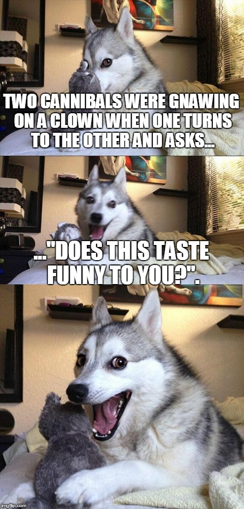 "Bad Pun Dog Meme | TWO CANNIBALS WERE GNAWING ON A CLOWN WHEN ONE TURNS TO THE OTHER AND ASKS... ...""DOES THIS TASTE FUNNY TO YOU?"". 