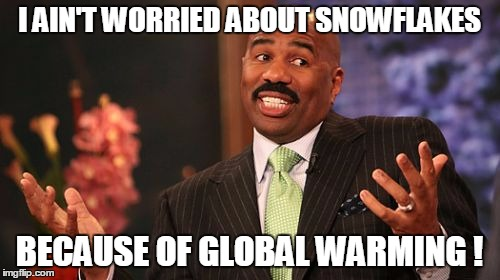 Steve Harvey Meme | I AIN'T WORRIED ABOUT SNOWFLAKES BECAUSE OF GLOBAL WARMING ! | image tagged in memes,steve harvey | made w/ Imgflip meme maker