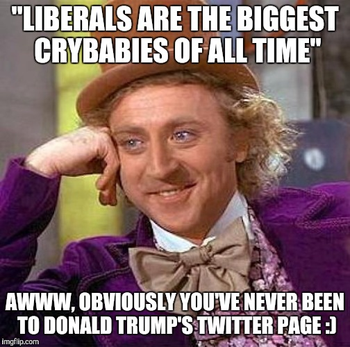 "Creepy Condescending Wonka |  ""LIBERALS ARE THE BIGGEST CRYBABIES OF ALL TIME""; AWWW, OBVIOUSLY YOU'VE NEVER BEEN TO DONALD TRUMP'S TWITTER PAGE :) 