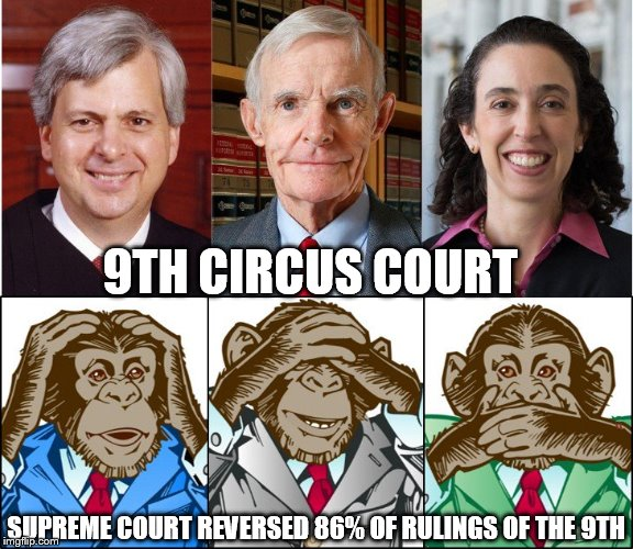 9th Circuit Court | 9TH CIRCUS COURT SUPREME COURT REVERSED 86% OF RULINGS OF THE 9TH | image tagged in judges,court,san francisco,trump | made w/ Imgflip meme maker
