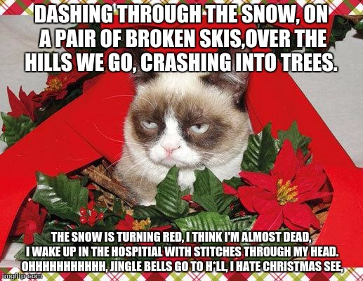 my parody training is complete | DASHING THROUGH THE SNOW, ON A PAIR OF BROKEN SKIS,OVER THE HILLS WE GO, CRASHING INTO TREES. THE SNOW IS TURNING RED, I THINK I'M ALMOST DE | image tagged in grumpy cat christmas | made w/ Imgflip meme maker