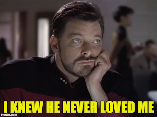 Sad Riker | I KNEW HE NEVER LOVED ME | image tagged in sad riker | made w/ Imgflip meme maker