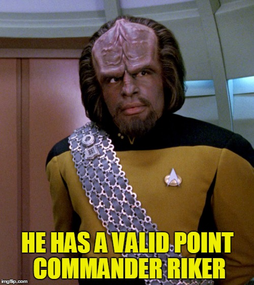 Lt Worf - Not A Good Idea Sir | HE HAS A VALID POINT COMMANDER RIKER | image tagged in lt worf - not a good idea sir | made w/ Imgflip meme maker