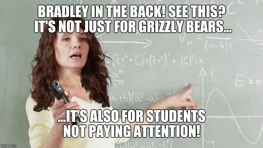 Devos guns in schools  |  BRADLEY IN THE BACK! SEE THIS? IT'S NOT JUST FOR GRIZZLY BEARS... ...IT'S ALSO FOR STUDENTS NOT PAYING ATTENTION! | image tagged in betsy devos,guns,grizzly | made w/ Imgflip meme maker